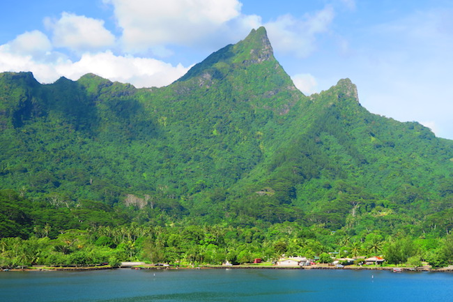 Moorea village and mountain french polynesia