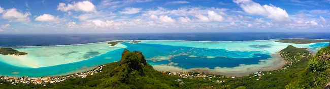 PANORAMIC VIEW MAUPITI FRENCH POLYNESIA FROM Mount Teurafaatiu