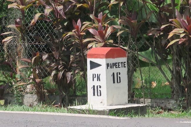PK Marker Tahiti French Polynesia pointe kilometre