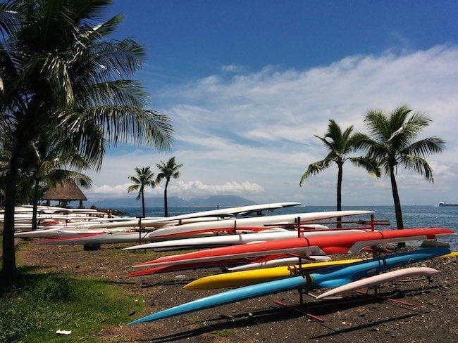 Paofai gardens outrigger canoes Papeete Tahiti French Polynesia