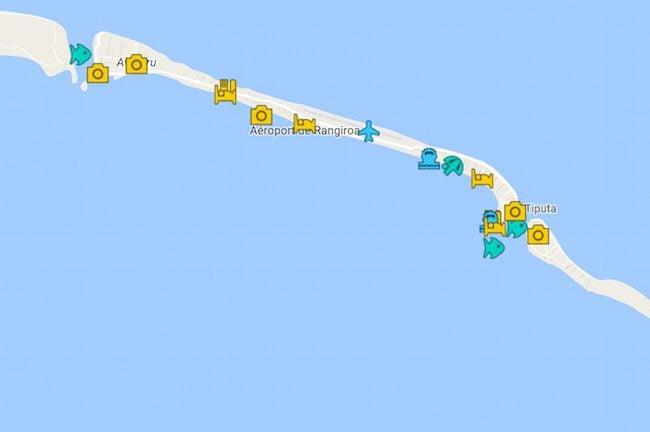 Rangiroa Travel Guide Map - French Polynesia