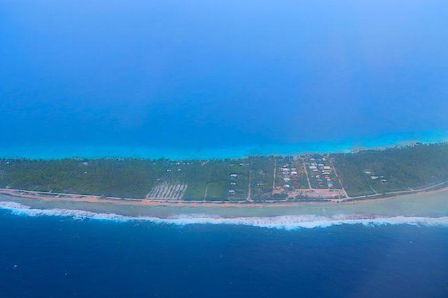 Rangiroa atoll aerial view of houses