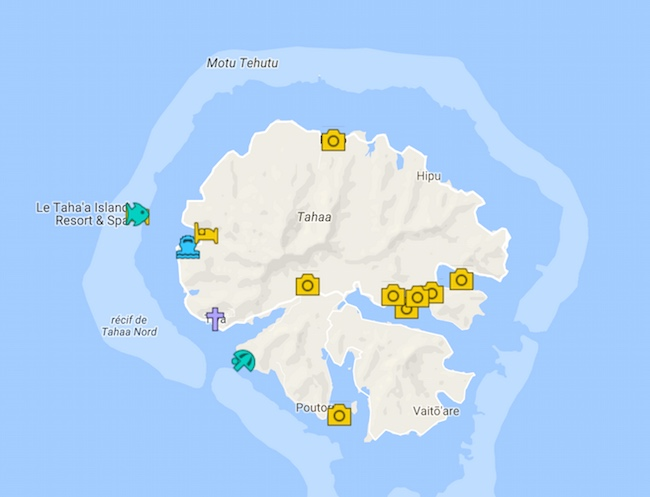 Tahaa Travel Guide Map - French Polynesia
