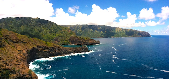 scenic drive to Puamau hiva oa - panoramic cliff view