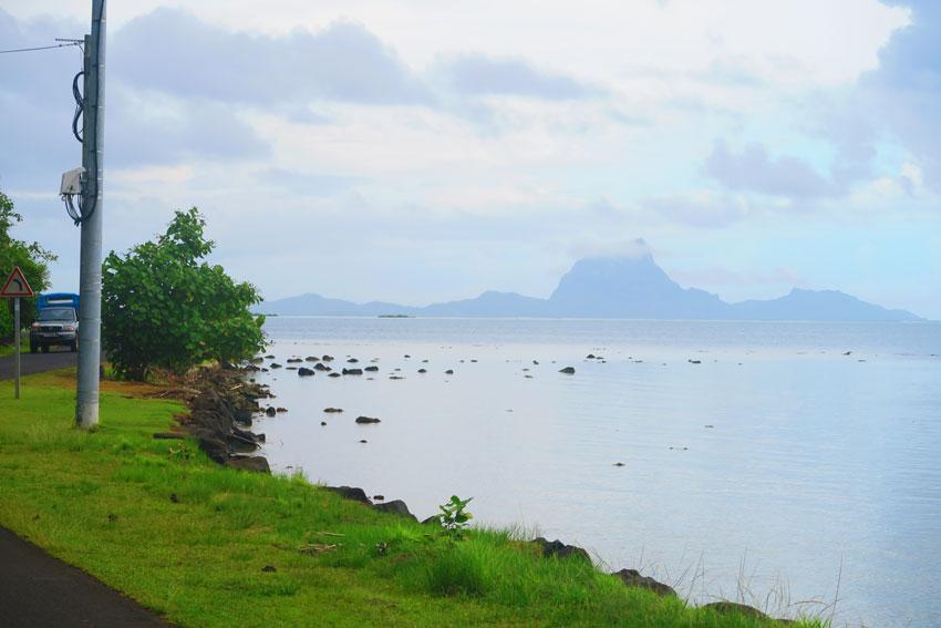 silhouette of Bora Bora from Tahaa French Polynesia