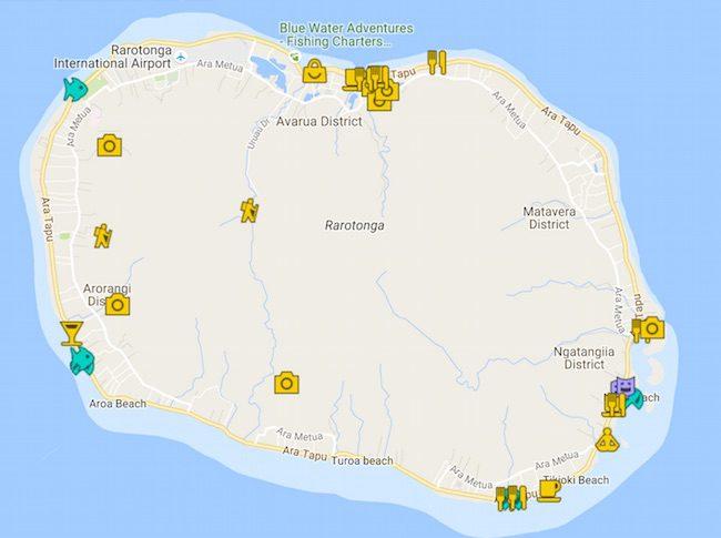 7 Days In Rarotonga Itinerary Map - Cook Islands