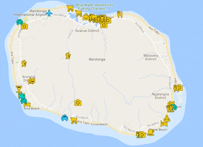 Rarotonga Travel Guide Map - Cook Islands