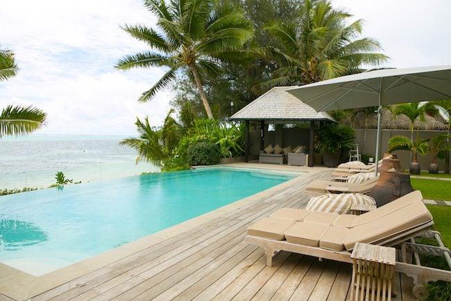 Te Vakaroa luxury villas rarotonga - lagoon pool view