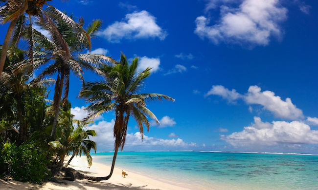 Titikaveka tropical beach Rarotonga cook islands panoramic view