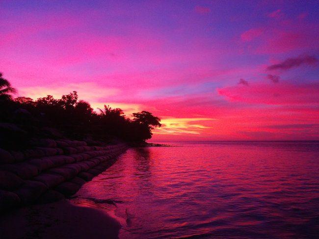 Sunset off Tanu Beach Fales Savaii Samoa