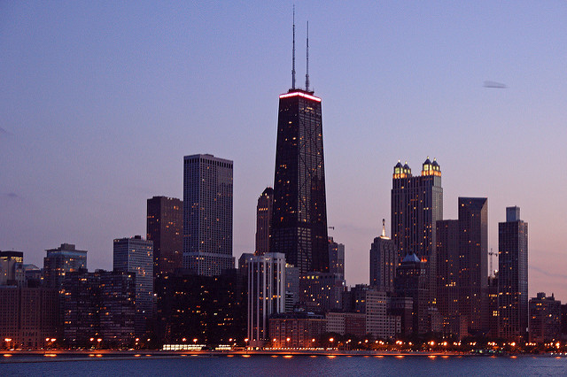 chicago skyline twilight Burt Kaufmann