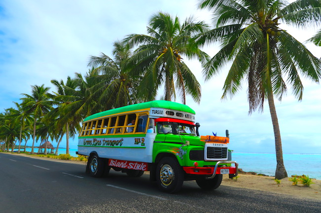 riding bus in savaii island samoa