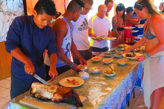sunday feast at taufua beach fales lalomanu samoa