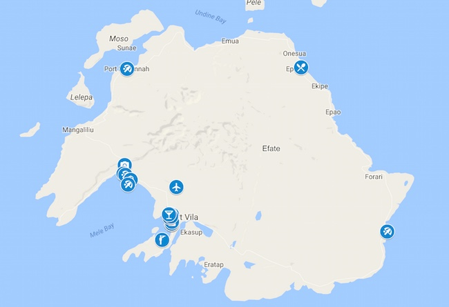10 Days In Vanuatu Map - Efate and Port Vila