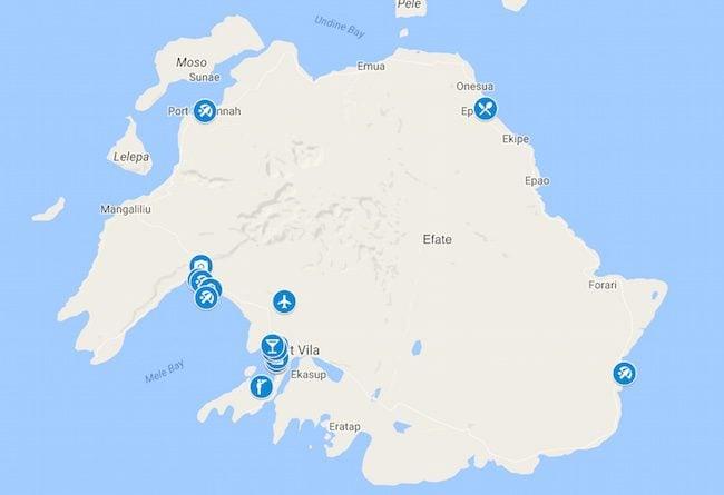 10 Days In Vanuatu Map - Efate and Port Vila