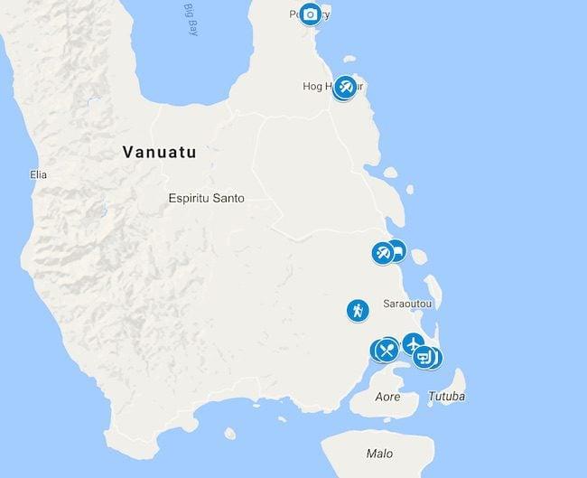 10 Days In Vanuatu Map - Espiritu Santo
