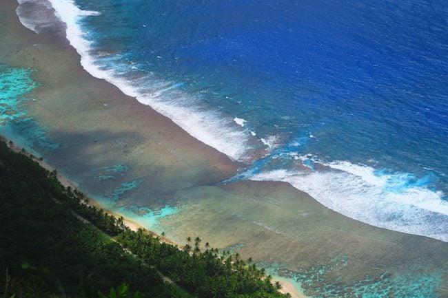 Break in coral reef dangerous swimming - Ofu Beach American Samoa