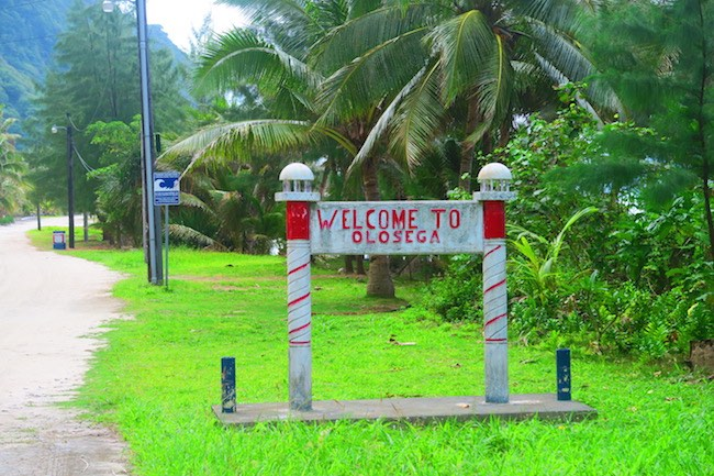 Olosega Village American Samoa - welcome sign