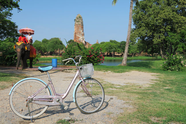 ayutthaya-thailand-riding-elephant-and-bicycle