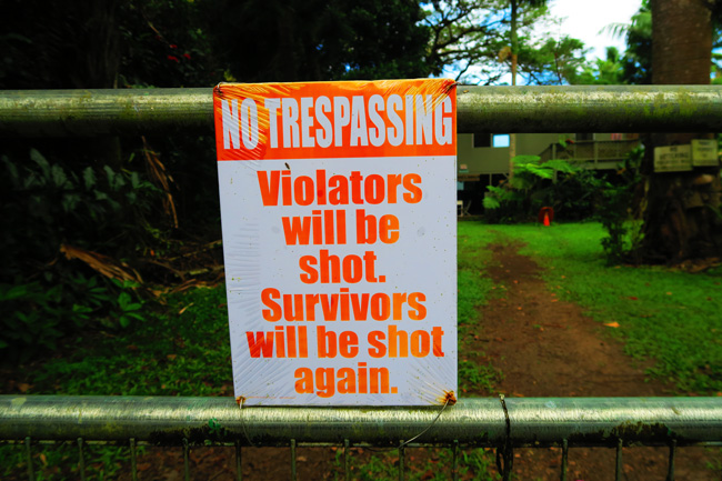 No Trespassing sign in Waipio Valley - Big Island Hawaii