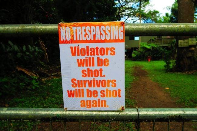No Trespassing sign in Waipio Valley - Big Island Hawaii