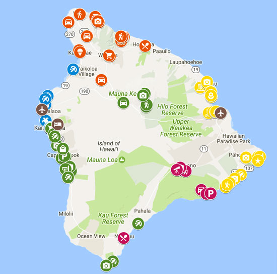 The Big Island Hawaii Itinerary Map