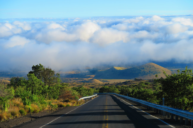 Drive to Mauna Kea above clouds - Big Island Hawaii