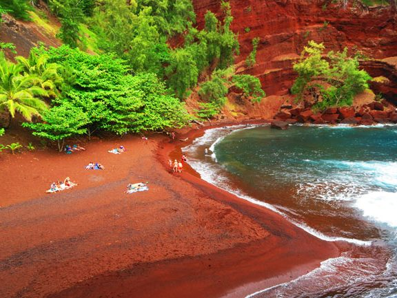Kaihalulu Red Sand Beach - road to Hana - Maui Hawaii