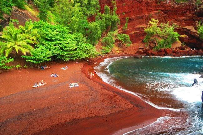 Kaihalulu Red Sand Beach - road to Hana - Maui Hawaii