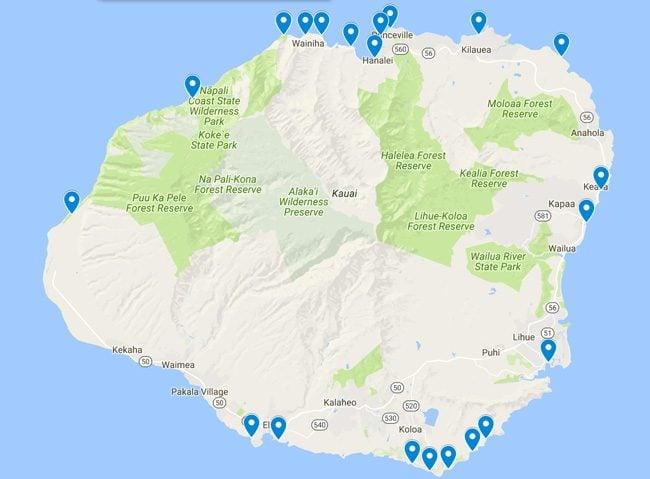 Map of the best beaches in Kauai - Hawaii