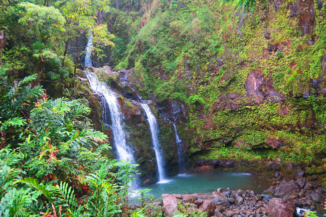 Three Bears Falls - road to Hana - Maui Hawaii