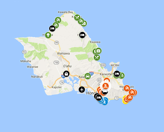 4 Days In Honolulu & Oahu Map