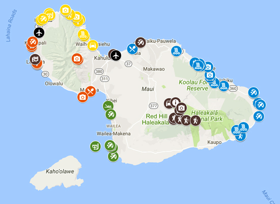 5 days in Maui - sample itinerary map