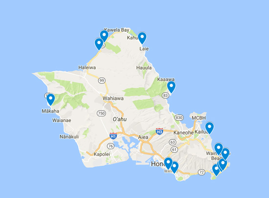 Best beaches in Oahu - map - Hawaii