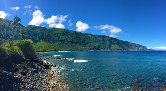 Kalaupapa Peninsula Leper Colony - Molokai - Hawaii - Panoramic View