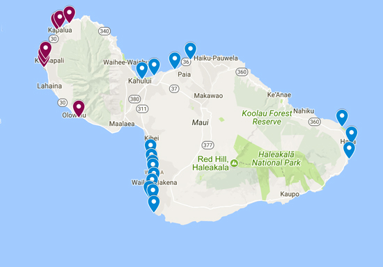 Map of the Best Maui Beaches - Hawaii
