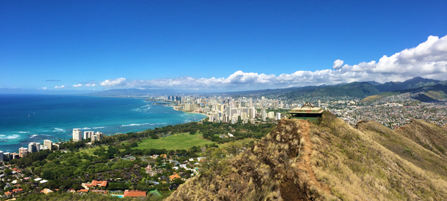 Panoramic view Waikiki Beach from Diamond Head - Honolulu - Oahu - Hawaii