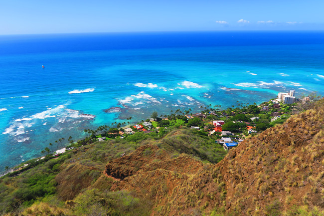 View from Diamond Head Summit - Honolulu - Oahu - Hawaii