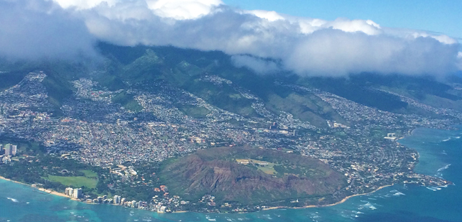 View of Diamond Head from the air - Honolulu - Oahu - Hawaii