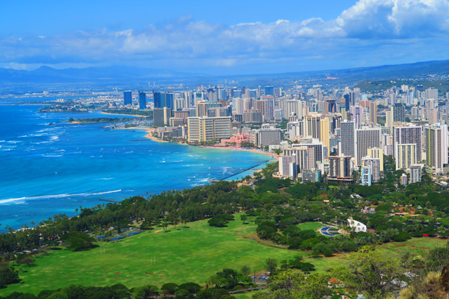 Waikiki Beach from Diamond Head - Honolulu Hawaii