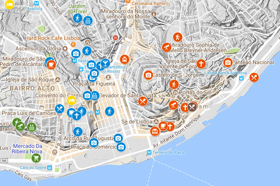 4 Days in Lisbon Portugal - Itinerary Map