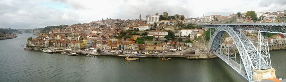 Dom Luis Bridge and Ribeira - Panoramic View - Porto - Portugal