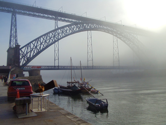 Dom Luis Bridge covered in fog -Porto - Portugal