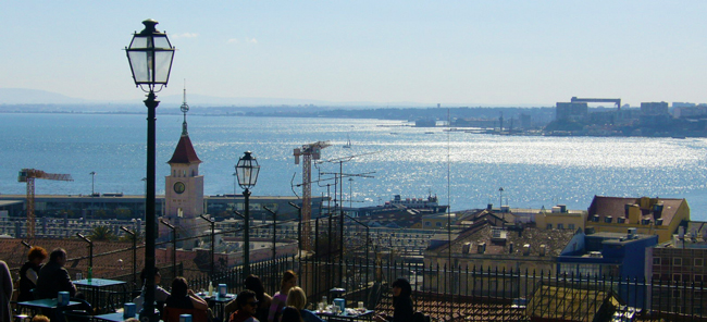 Miradouro de Santa Catarina - Lisbon Portugal - panoramic view