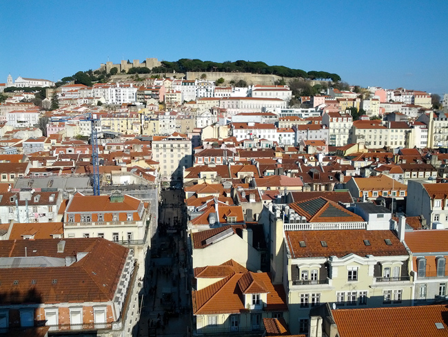 Panoramic view of Lisbon castle from Elevador de Santa Justa