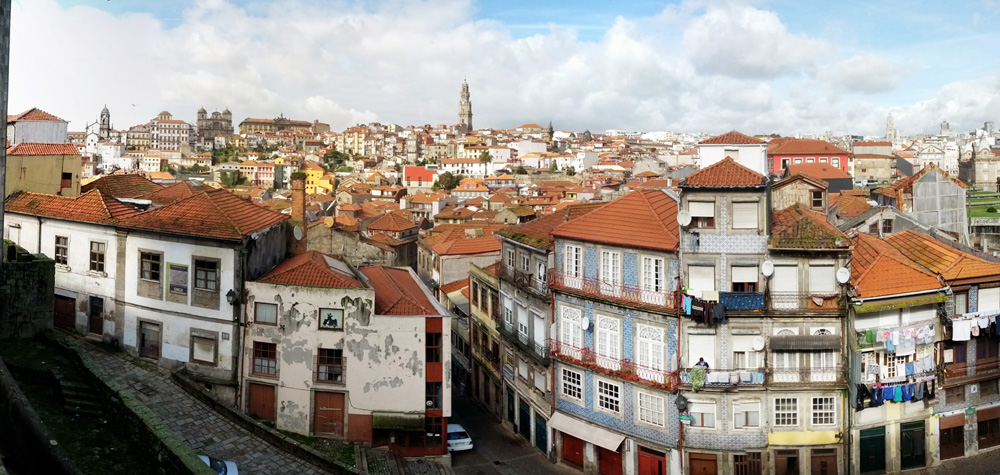 Panoramic view of Porto city center from Se Cathedral - Portugal