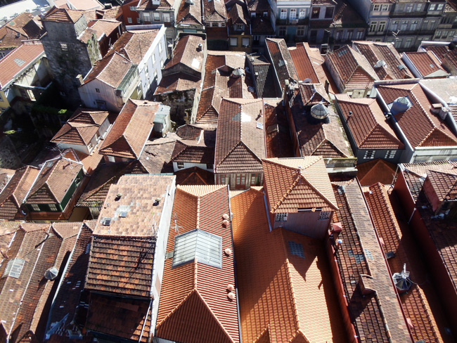 Red Tiled Rooftops of Porto from top of Torre dos Clerigos
