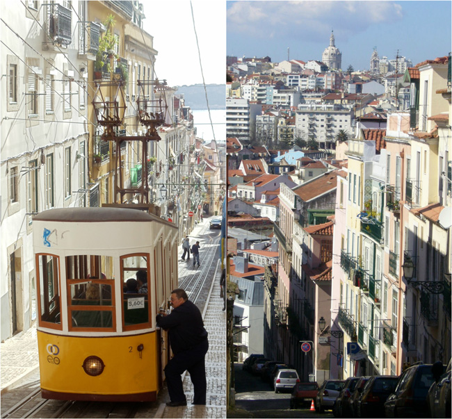 Tram and hills in Lisbon Portugal