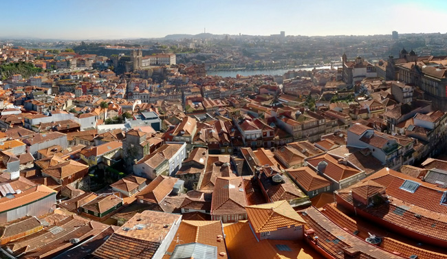 View of Porto from top of Torre dos Clerigos Tower - Portugal