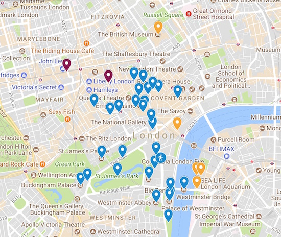 3 days in London itinerary map